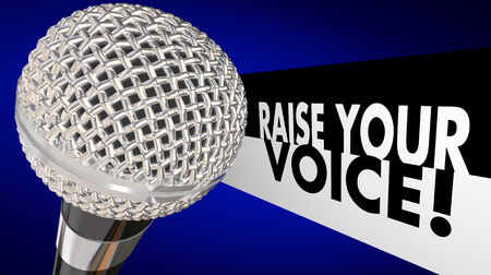 public opinion: Raise Your Voice Microphone Speak Up Sing Talk 3d Illustration Stock Photo
