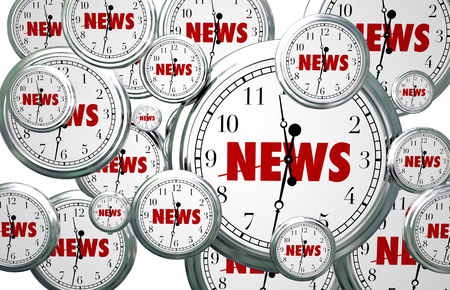 informing: News Around the Clock Time Flying Word 3d Illustration