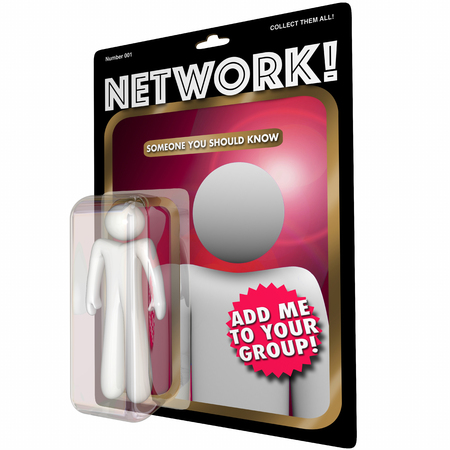 connect people: Network Action Figure Connect with People 3d Illustration Stock Photo