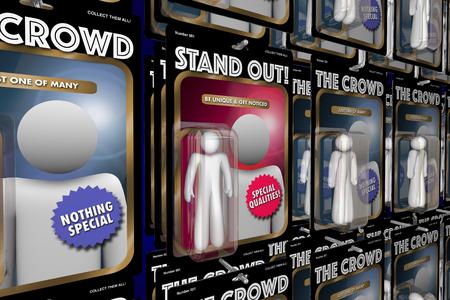 群衆の中から目立つアクション フィギュア人々 の利点 3 d イラストレーション