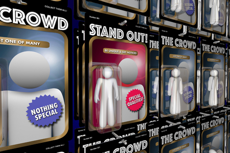 people in action: Stand Out from Crowd Action Figure People Advantage 3d Illustration Stock Photo