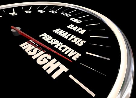 Insight Analysis Information Data Perspective Speedometer 3d Illustration