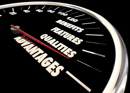 advantages: Advantages Benefits Qualities Speedometer 3d Illustration