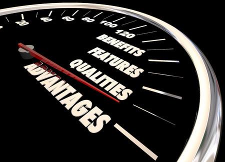Advantages Benefits Qualities Speedometer 3d Illustration