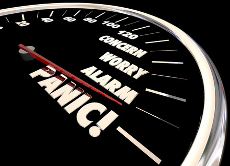 concerns: Panic Worry Alarm Speedometer Reaction Feelings 3d Illustration Stock Photo