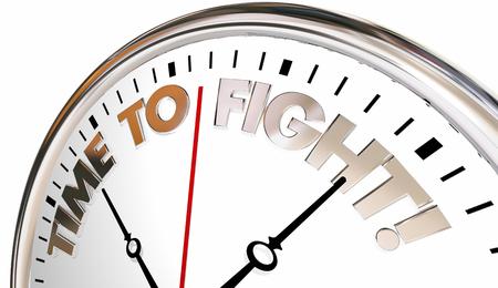 Time to Fight Back Clock Action Protest Defend 3d Illustration