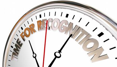 reconocimiento: Tiempo para reconocimiento Reconocimiento Gracias reloj Ilustración 3d Foto de archivo