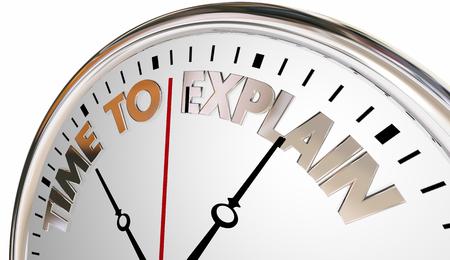Teach tiempo para explicar la lección aumentar la comprensión del reloj Ilustración 3d