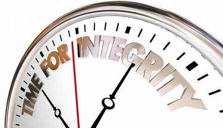 zvýšil: Time for Integrity Clock poctivost Trust, pověst 3d ilustrační Reklamní fotografie