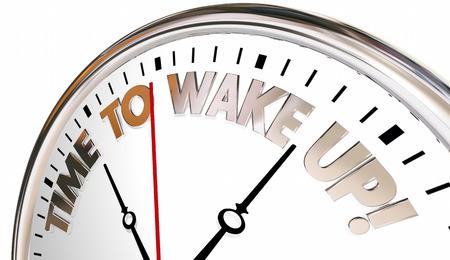 Hora de despertar Reloj despertador ser consciente prestar atención 3d ilustración Foto de archivo