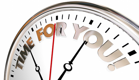 buen vivir: Tiempo para usted reloj Disfrute de la vida su momento ahora 3d ilustración Foto de archivo