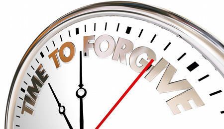 granting: Time to Forgive Clock Forget Absolve Reconcile Sorry 3d Illustration Stock Photo