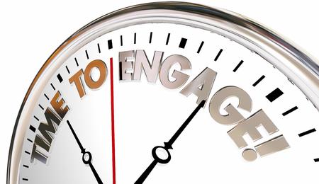 Tempo per impegnarsi Interact Registrazione Comunicare Clock Illustrazione 3d