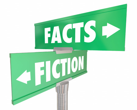 Facts Vs Fiction Truth or Lies Street Road Signs 3d Illustration Фото со стока