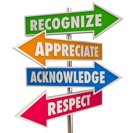 acknowledge: Recognize Appreciation Acknowledge Respect Signs 3d Illustration