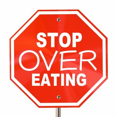 over eating: Stop Over Eating Sign End Obesity Diet Cut Calories 3d Illustration