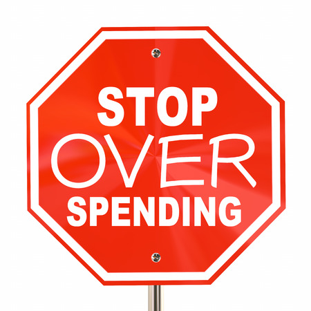 Stop Over Spending Sign Save More Money Budget 3d Illustration