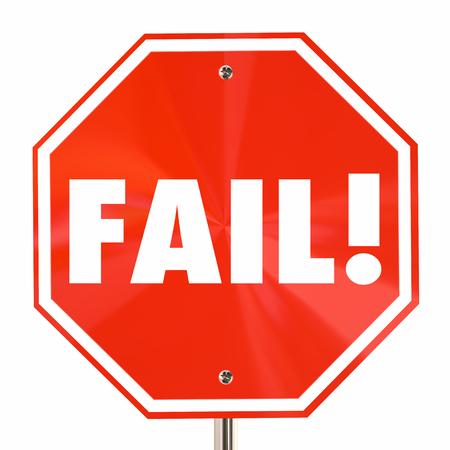 Word 一時停止の標識の悪い貧しい結果の失敗を失敗する 3 d イラストレーション