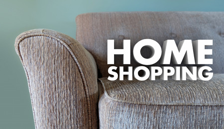 furniture store: Home Shopping Furniture Store Words Couch 3d Illustration