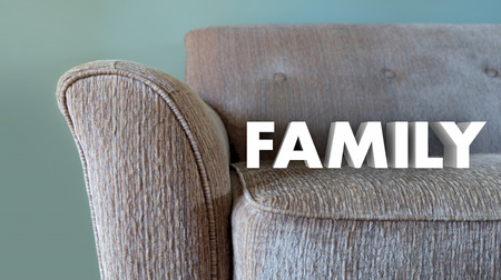 family couch: Family Couch Home Comfort Living Room Word 3d Illustration Stock Photo
