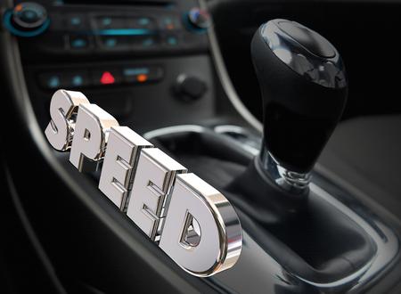 Speed Car Auto Gear Shift Interior Fast Performance Word 3d Illustration