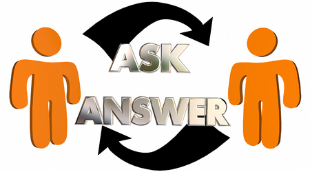 mutual assistance: Ask Answer Questions Get Help People Arrows 3d Illustration