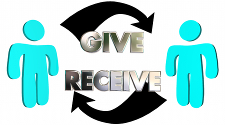 Give Receive Donate Get Take Arrows People 3d Illustration Banco de Imagens