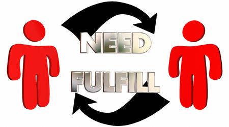 satisfy: Fulfill Needs Customer Product Service Support Arrows 3d Illustration