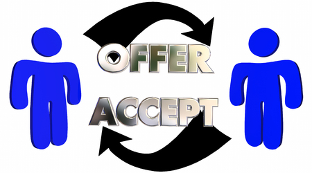 Offer Accepted People Customer Sales Person Deal 3d Illustration Stock fotó