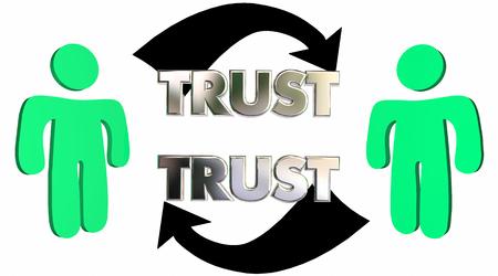 trust people: Mutual Trust Confidence People Partner Arrows 3d Illustration Stock Photo