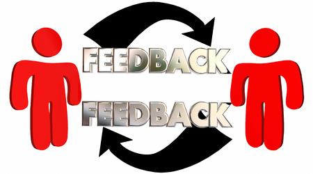フィードバック人々 が意見を共有話すコメント 3 d イラストレーション