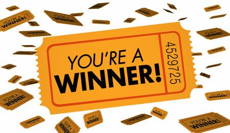 Ty jesteś Zwycięzcą Loterii Loterii Bilety Luck 3d Illustration