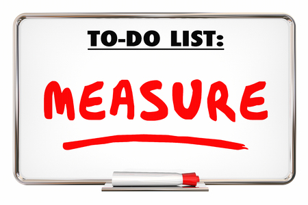 dry erase board: Measure To Do List Evaluate Analyze Dry Erase Board 3d Illustration Stock Photo