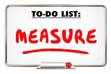 metrics: Measure To Do List Evaluate Analyze Dry Erase Board 3d Illustration Stock Photo
