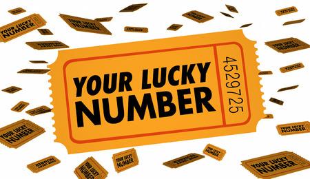 štěstí: Váš Lucky Number Výherní soutěž Tombola vstupenek 3d ilustrační