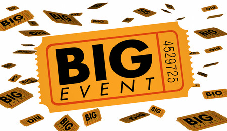 Big Event Ticket Special Admission Celebration 3d Illustration Stock Photo