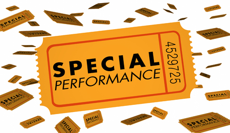 Special Performance Concert Theatre Play Recital Ticket 3d Illustration Stock Photo