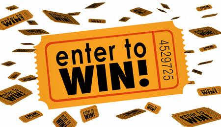 Enter to Win Contest Raffle Lottery Ticket Woorden Lucky 3d Illustratie