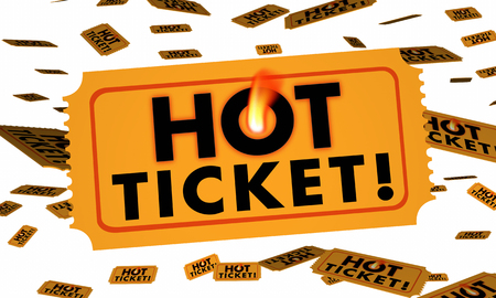 admit: Hot Ticket Admission Event Party Concert 3d Illustration Stock Photo