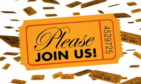 Neem alsjeblieft deel aan ons Ticket Invitation Special Party Event 3D Illustratie