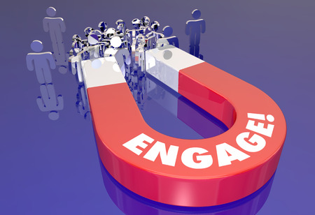 entice: Engage Customer Audience Interaction Magnet Pulling People 3d Illustration