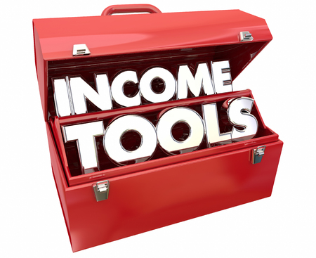 financial adviser: Income Tools Earn More Money Toolbox 3d Illustration