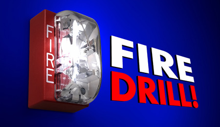 drill: Fire Drill Alarm Words Practice Emergency Exercise 3d Illustration