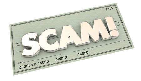 stealing: Scam Fraud Money Stealing Theft Word Check 3d Illustration