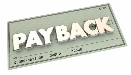 compensated: Payback Return Money Owed Payment Check 3d Illustration