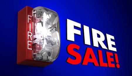 retailing: Fire Sale Big Savings Event Clearance Alarm 3d Illustration