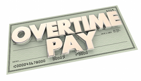 pay money: Overtime Pay Check Extra Working Hours Money 3d Illustration Stock Photo