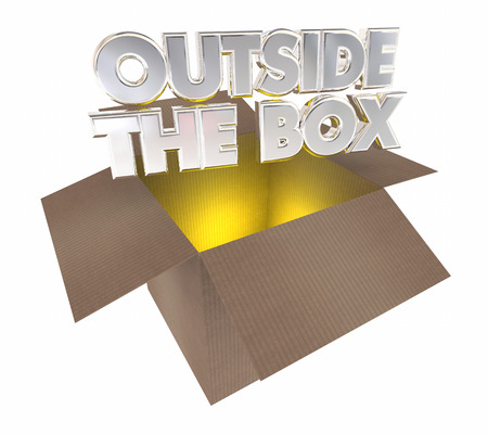 different thinking: Outside the Box Thinking Opening Cardboard Package 3d Illustration