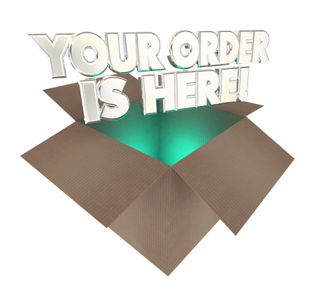 order here: Your Order is Here Box Package Arrived 3d Illustration