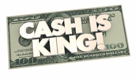 El efectivo es rey de las palabras de dinero de 100 Cientos billetes de dólar 3d ilustración